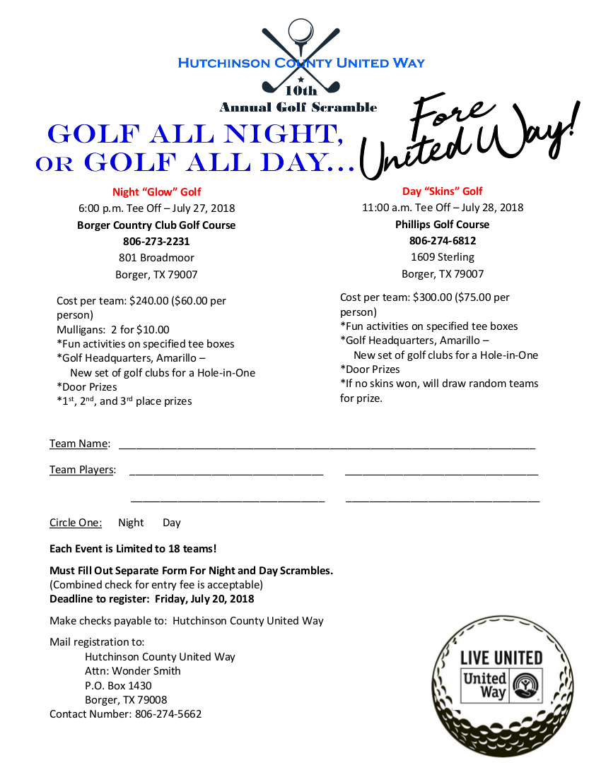 Golf Scramble Registration | Hutchinson County United Way